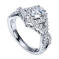 Berenice 14k White Gold Pear Shape Halo Engagement Ring angle 3