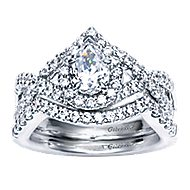 Berenice 14k White Gold Pear Shape Halo Engagement Ring angle 4