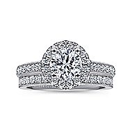 Bernadette 14k White Gold Round Halo Engagement Ring angle 4