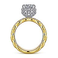 Berry 18k Yellow And White Gold Round Twisted Engagement Ring angle 2