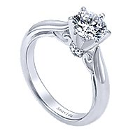 Bethany 18k White Gold Round Solitaire Engagement Ring angle 3