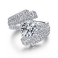 Betty 18k White Gold Round Bypass Engagement Ring angle 1