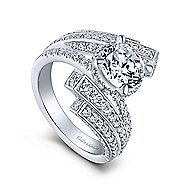 Betty 18k White Gold Round Bypass Engagement Ring angle 3
