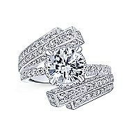 Betty 18k White Gold Round Bypass Engagement Ring angle 5