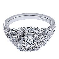 Beyond 14k White Gold Round Halo Engagement Ring angle 1