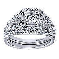 Beyond 14k White Gold Round Halo Engagement Ring angle 4