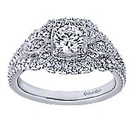 Beyond 14k White Gold Round Halo Engagement Ring angle 5