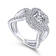 Bianca 18k White Gold Round Double Halo Engagement Ring angle 3
