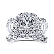 Bianca 18k White Gold Round Double Halo Engagement Ring angle 4