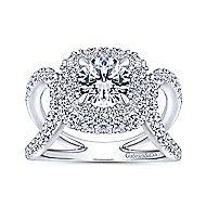Bianca 18k White Gold Round Double Halo Engagement Ring angle 5
