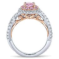 Bijoux 14k White And Rose Gold Oval Double Halo Engagement Ring