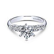 Billie 14k White Gold Round Straight Engagement Ring angle 1