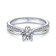 Birdie 14k White Gold Round Split Shank Engagement Ring angle 1