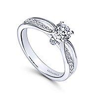 Birdie 14k White Gold Round Split Shank Engagement Ring angle 3