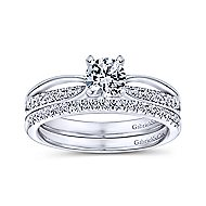 Birdie 14k White Gold Round Split Shank Engagement Ring angle 4