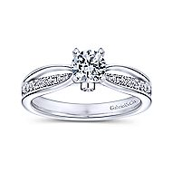 Birdie 14k White Gold Round Split Shank Engagement Ring angle 5