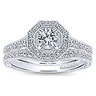 Blanca 14k White Gold Round Halo Engagement Ring angle 4