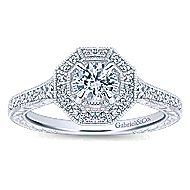 Blanca 14k White Gold Round Halo Engagement Ring angle 5