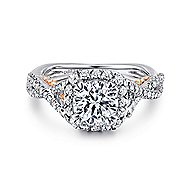 Blanche 18k White And Rose Gold Round Halo Engagement Ring angle 1