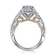 Blanche 18k White And Rose Gold Round Halo Engagement Ring angle 2