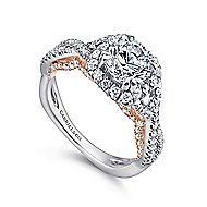 Blanche 18k White And Rose Gold Round Halo Engagement Ring angle 3