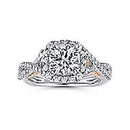 Blanche 18k White And Rose Gold Round Halo Engagement Ring angle 5