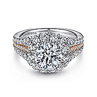 Bleecker 18k White And Rose Gold Round Halo Engagement Ring angle 1