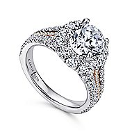 Bleecker 18k White And Rose Gold Round Halo Engagement Ring angle 3