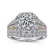 Bleecker 18k White And Rose Gold Round Halo Engagement Ring angle 4