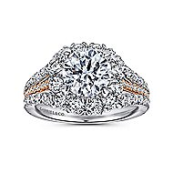 Bleecker 18k White And Rose Gold Round Halo Engagement Ring angle 5