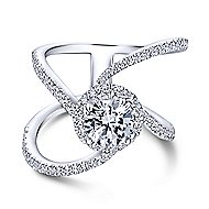 Bloom 18k White Gold Round Halo Engagement Ring angle 1