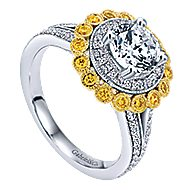 Bloomfield 14k Yellow And White Gold Round Double Halo Engagement Ring