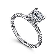 Bobbi 14k White Gold Round Solitaire Engagement Ring angle 3