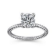 Bobbi 14k White Gold Round Solitaire Engagement Ring angle 5