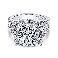 Bowery 18k White Gold Round Halo Engagement Ring angle 1