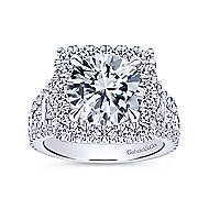Bowery 18k White Gold Round Halo Engagement Ring angle 5