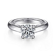 Brave 18k White Gold Round Solitaire Engagement Ring angle 1