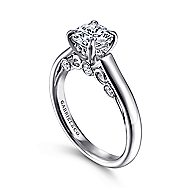 Brave 18k White Gold Round Solitaire Engagement Ring angle 3