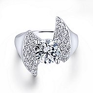 Breeze 14k White Gold Round Bypass Engagement Ring angle 1