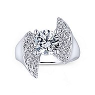 Breeze 14k White Gold Round Bypass Engagement Ring