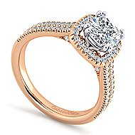 Brianna 14k White And Rose Gold Cushion Cut Halo Engagement Ring angle 3