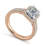 Brianna 14k White And Rose Gold Emerald Cut Halo Engagement Ring angle 3