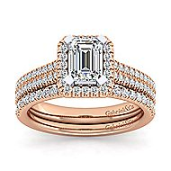 Brianna 14k White And Rose Gold Emerald Cut Halo Engagement Ring angle 4