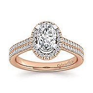 Brianna 14k White And Rose Gold Oval Halo Engagement Ring angle 5