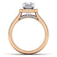 Brianna 14k White And Rose Gold Princess Cut Halo Engagement Ring angle 2