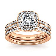 Brianna 14k White And Rose Gold Princess Cut Halo Engagement Ring angle 4