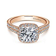 Brianna 14k White And Rose Gold Round Halo Engagement Ring angle 1