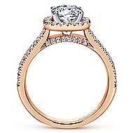 Brianna 14k White And Rose Gold Round Halo Engagement Ring angle 2