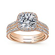 Brianna 14k White And Rose Gold Round Halo Engagement Ring angle 4