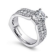 Brielle 14k White Gold Round Straight Engagement Ring angle 3